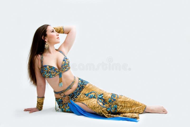 μπλε χορευτής κοιλιών στοκ φωτογραφία