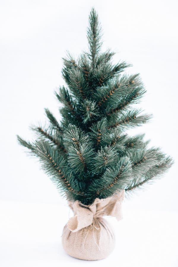 Μπλε χριστουγεννιάτικο δέντρο σε ένα άσπρο υπόβαθρο απομονώστε στοκ εικόνες με δικαίωμα ελεύθερης χρήσης