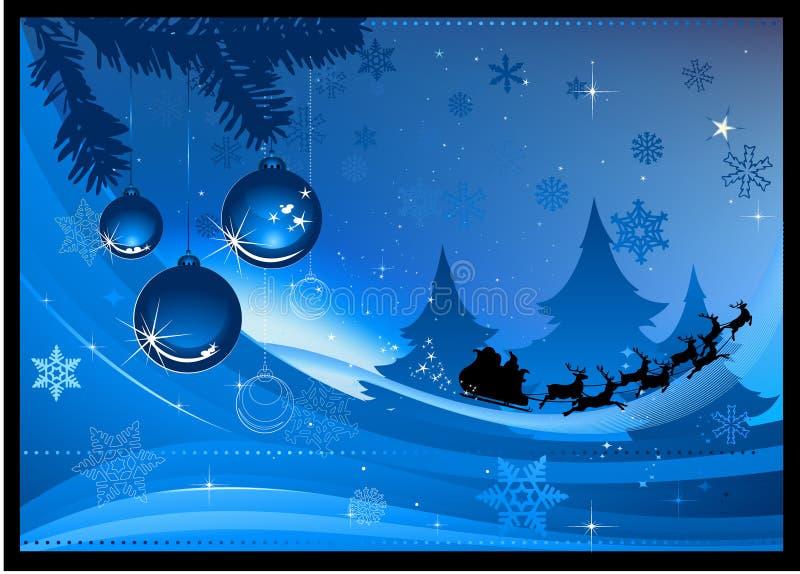 μπλε Χριστούγεννα καρτών διανυσματική απεικόνιση