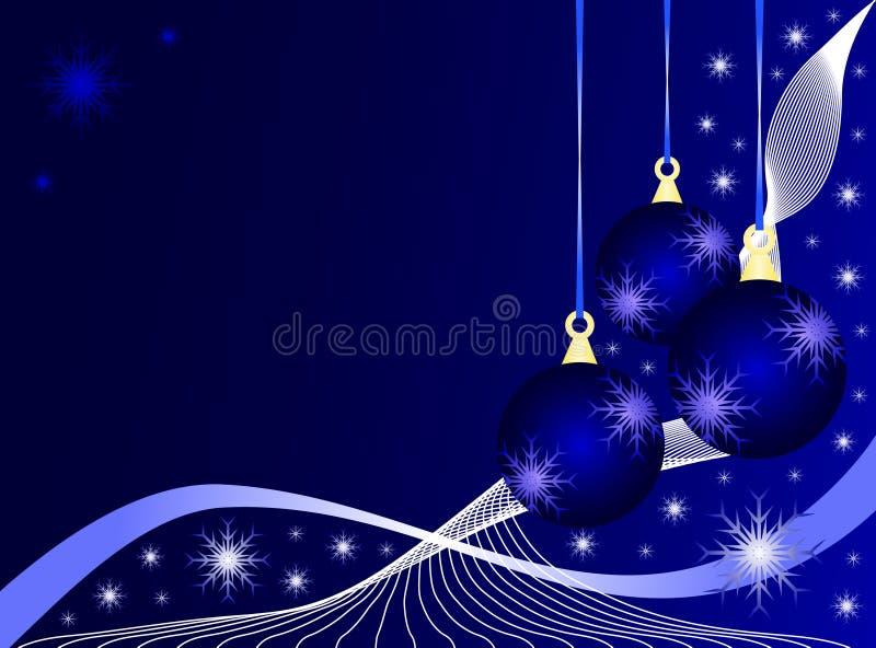 μπλε Χριστούγεννα μπιχλιμπιδιών απεικόνιση αποθεμάτων