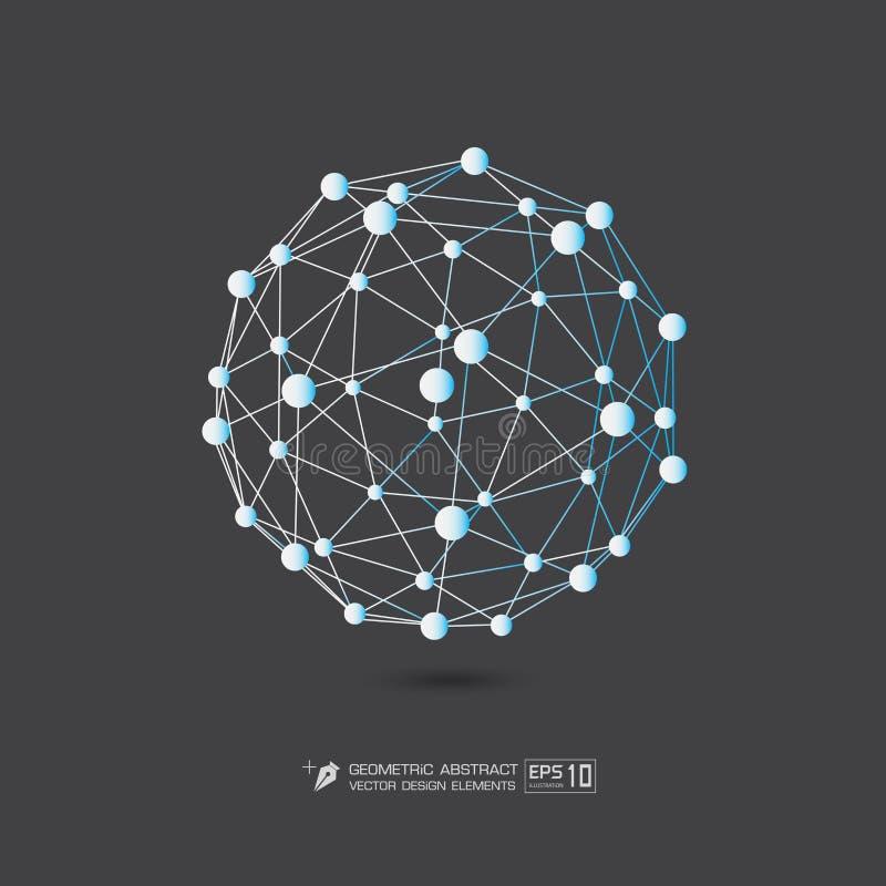 Μπλε χρώμα δομών μορίων στην γκρίζα απεικόνιση σχήματος υποβάθρου διανυσματική EPS10 ελεύθερη απεικόνιση δικαιώματος