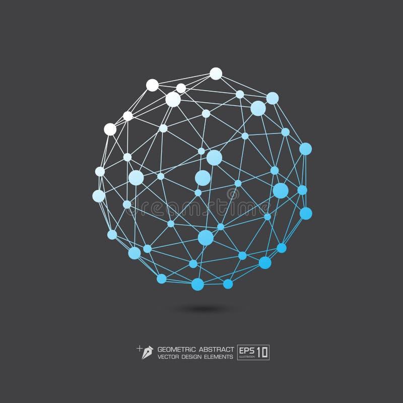 Μπλε χρώμα δομών μορίων στην γκρίζα απεικόνιση σχήματος υποβάθρου διανυσματική EPS10 διανυσματική απεικόνιση
