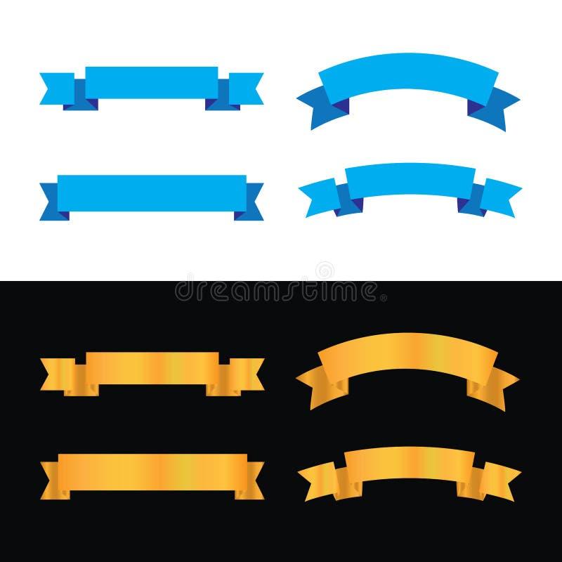 Μπλε χρώμα σχεδίου κορδελλών και χρυσό σύνολο κορδελλών χρώματος διανυσματική απεικόνιση