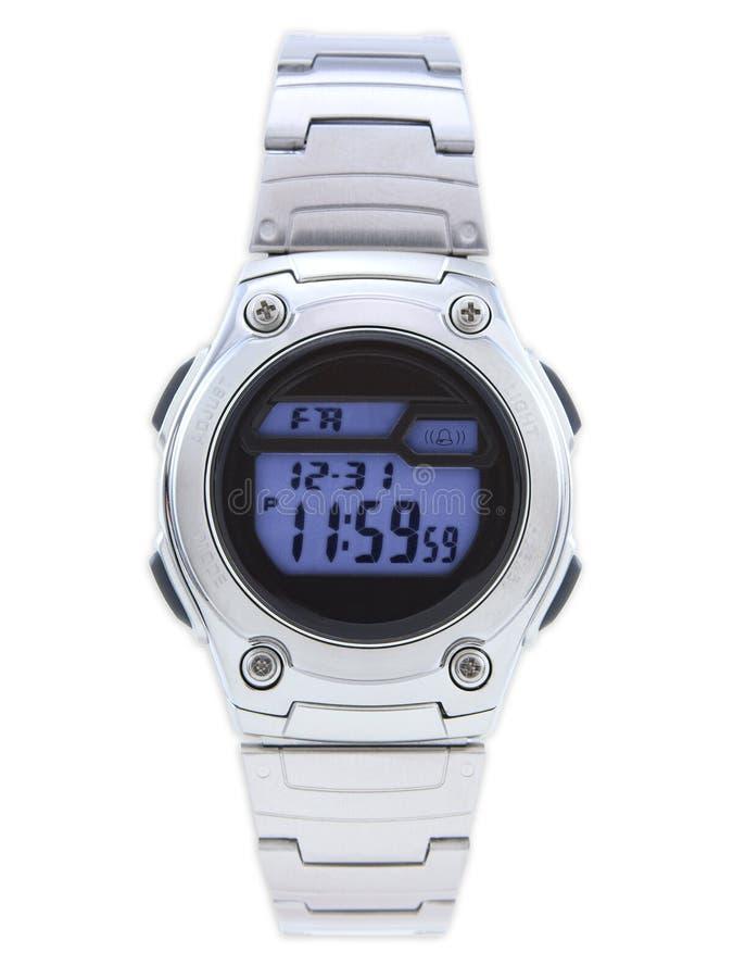 μπλε ψηφιακό ρολόι προσώπ&omicro στοκ φωτογραφίες