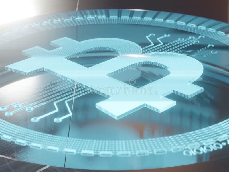 Μπλε ψηφιακό σύμβολο ολογραμμάτων λέιζερ τρισδιάστατο της τρισδιάστατης απόδοσης έννοιας bitcoin στοκ φωτογραφία