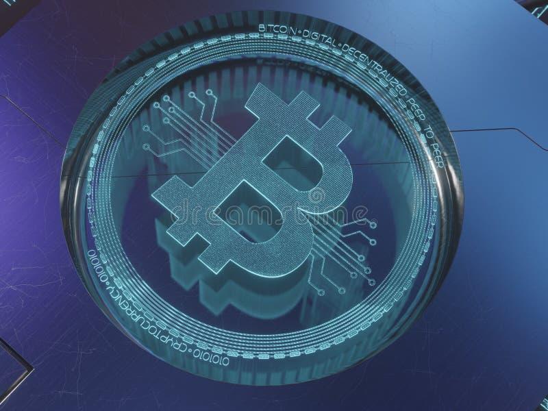 Μπλε ψηφιακό σύμβολο ολογραμμάτων λέιζερ τρισδιάστατο της τρισδιάστατης απόδοσης έννοιας bitcoin στοκ εικόνα