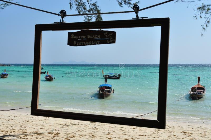 Μπλε ωκεανός πλαισίων φωτογραφιών παραλιών στοκ εικόνα με δικαίωμα ελεύθερης χρήσης