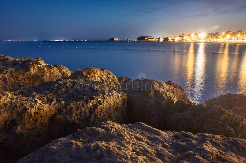 Μπλε ώρα στην παραλία Varadero σε Santa Pola στοκ εικόνες με δικαίωμα ελεύθερης χρήσης