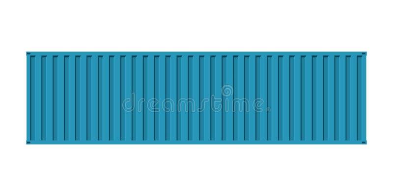 Μπλε containe θάλασσας φορτίου, άποψη προσόψεων, που απομονώνεται στο άσπρο backgroun απεικόνιση αποθεμάτων