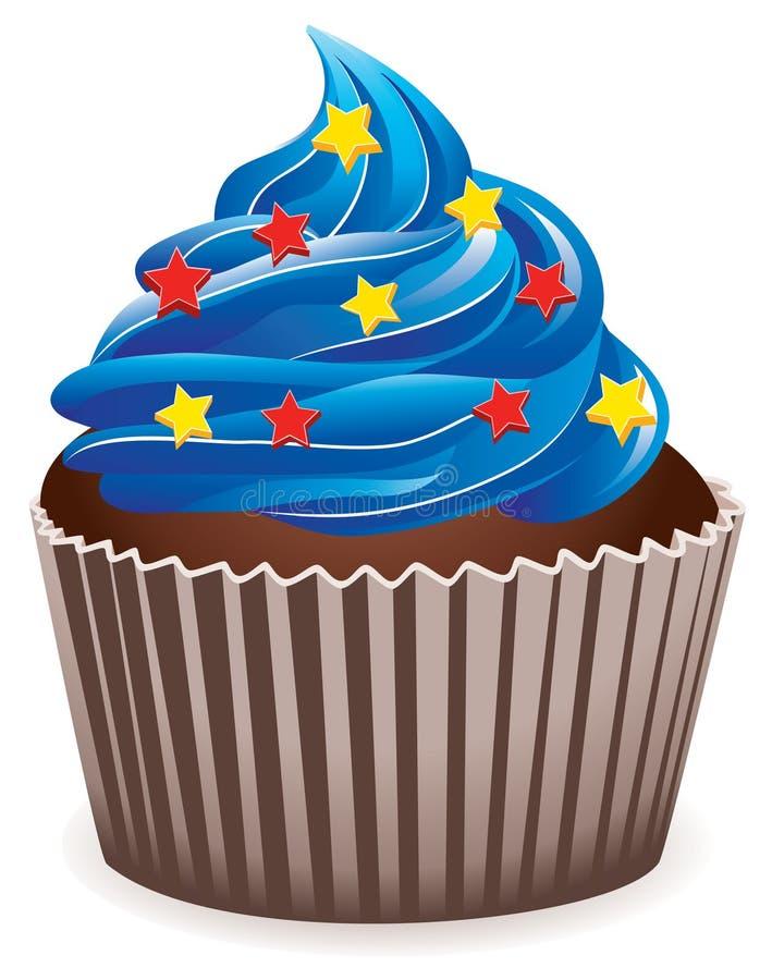 μπλε cupcake διανυσματική απεικόνιση