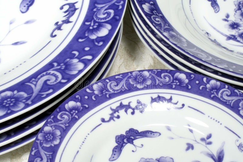 μπλε dinnerware λευκό στοκ φωτογραφίες