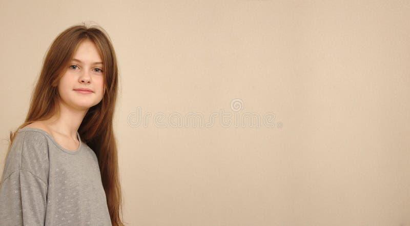 μπλε eyed καφετί μαλλιαρό ντροπαλό κορίτσι στην μπλούζα Πρότυπος πυροβολισμός στούντιο στοκ φωτογραφία με δικαίωμα ελεύθερης χρήσης