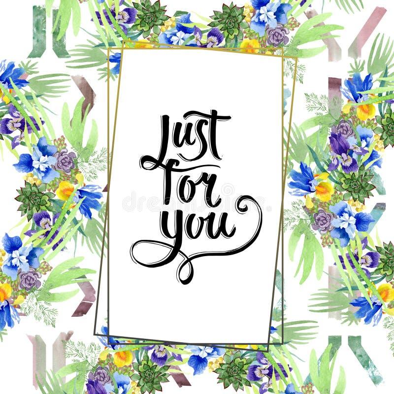 Μπλε floral βοτανικά λουλούδια ανθοδεσμών ίριδων Σύνολο απεικόνισης υποβάθρου Watercolor Τετράγωνο διακοσμήσεων συνόρων πλαισίων στοκ φωτογραφία με δικαίωμα ελεύθερης χρήσης