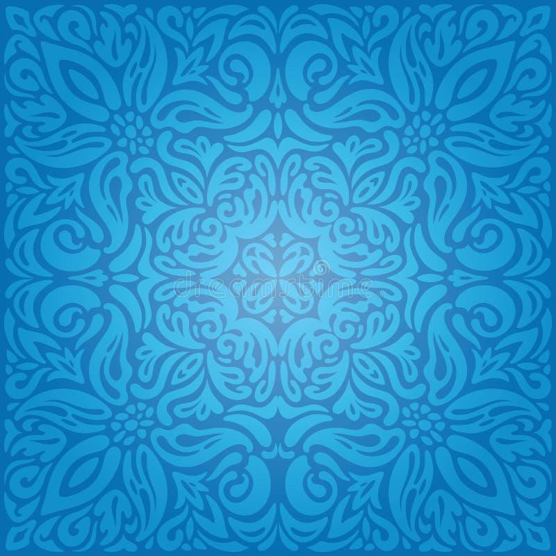 Μπλε Floral εκλεκτής ποιότητας σχέδιο υποβάθρου ταπετσαριών βασιλιάδων με το διακοσμητικό mandala λουλουδιών ελεύθερη απεικόνιση δικαιώματος