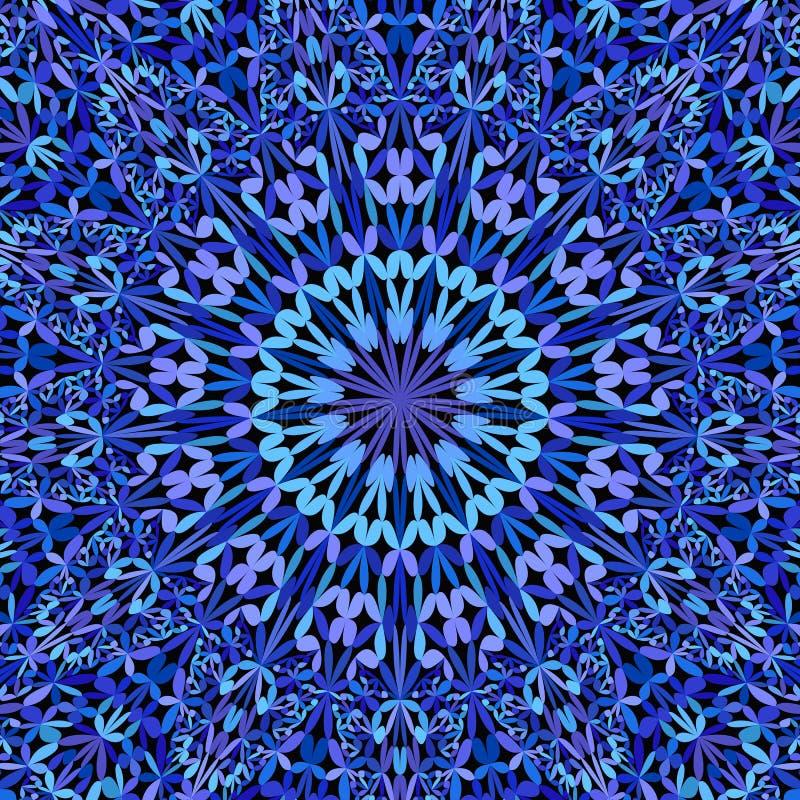 Μπλε floral περίκομψο υπόβαθρο mandala - Βοημίας γραφικός απεικόνιση αποθεμάτων