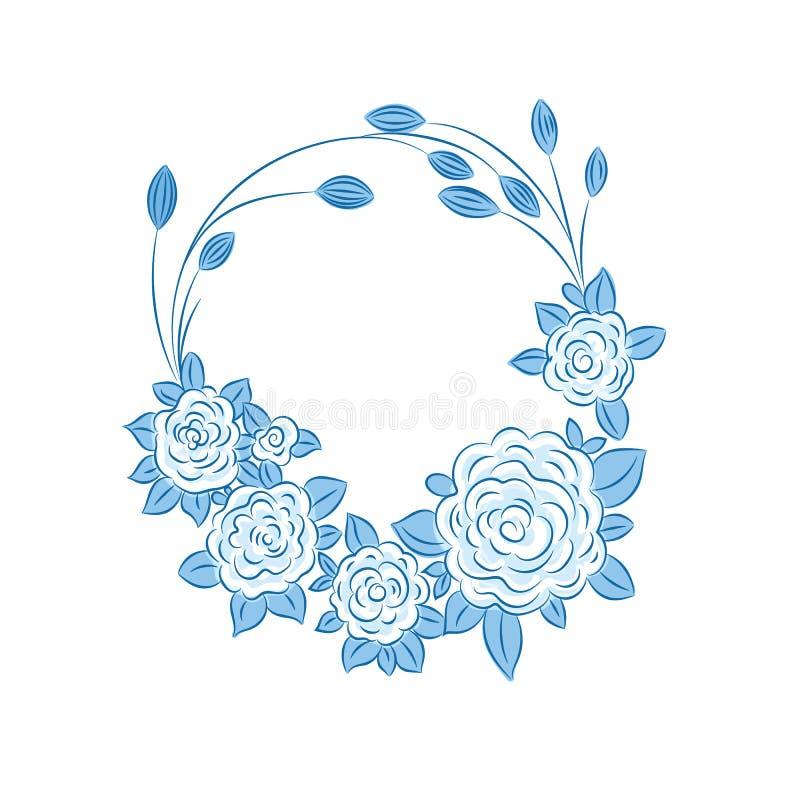Μπλε floral στεφάνι τριαντάφυλλων ελεύθερη απεικόνιση δικαιώματος
