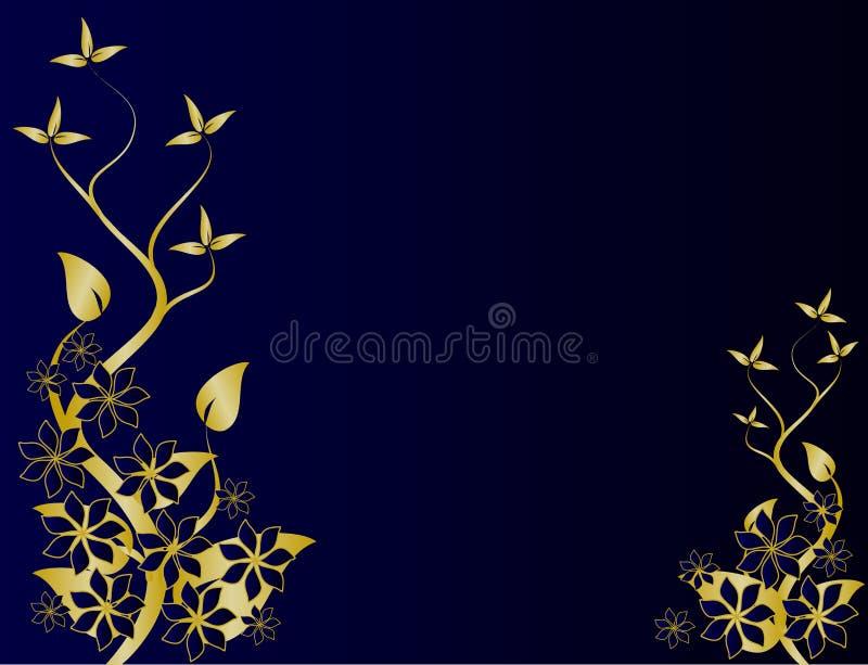 μπλε floral χρυσός ανασκόπηση&sigmaf διανυσματική απεικόνιση