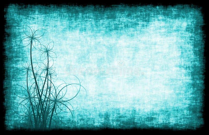 μπλε floral grunge ανασκόπησης απεικόνιση αποθεμάτων