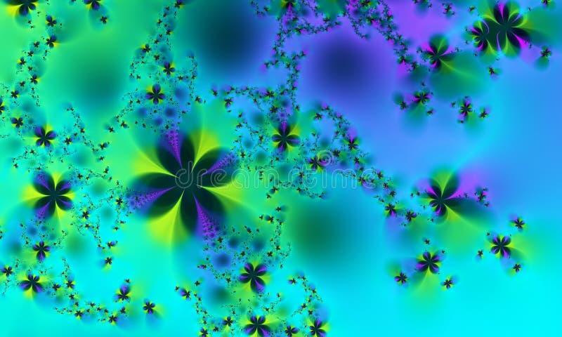 μπλε fractal λουλουδιών πράσινη άνοιξη διανυσματική απεικόνιση