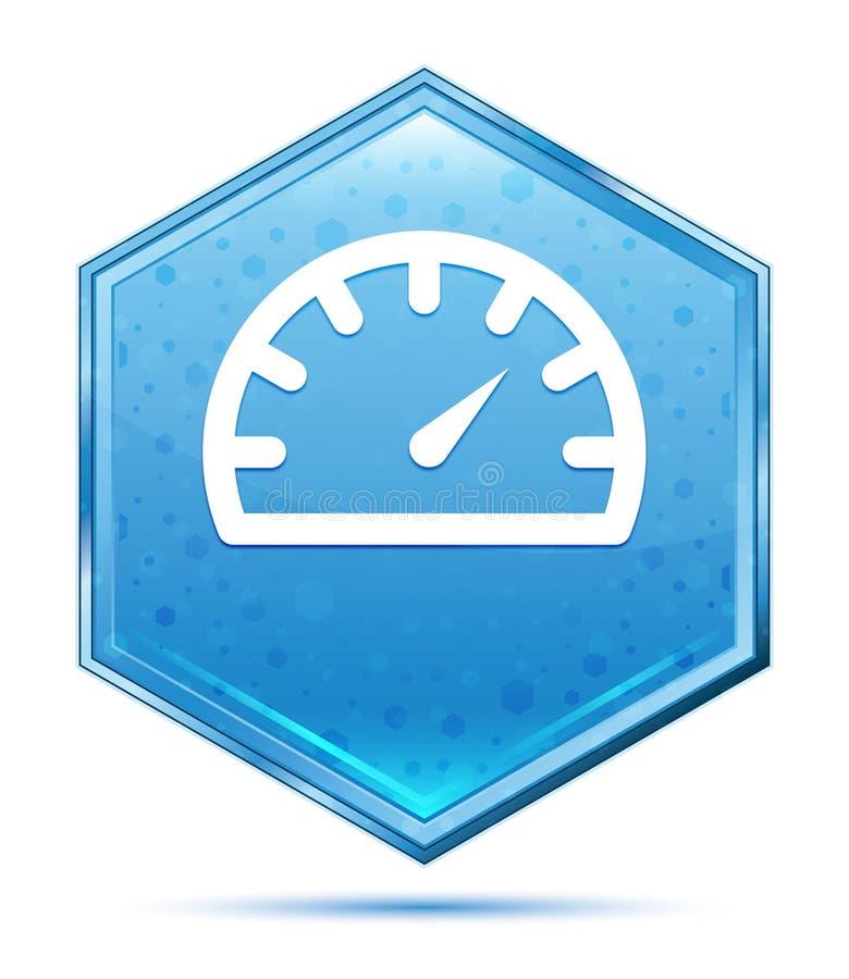 Μπλε hexagon κουμπί κρυστάλλου εικονιδίων μετρητών ταχυμέτρων απεικόνιση αποθεμάτων