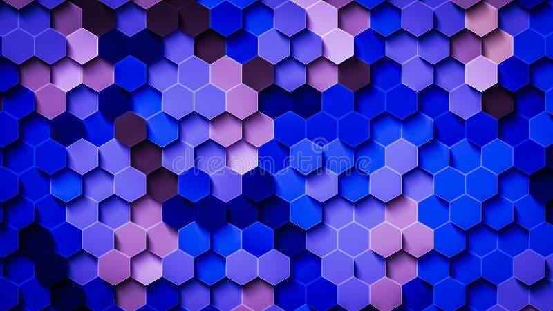 Μπλε Hexagons διανυσματική απεικόνιση