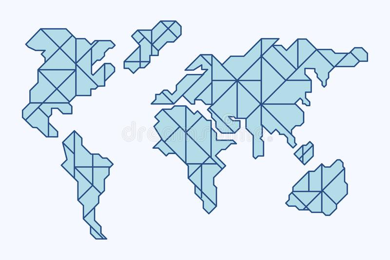 Μπλε polygonal παγκόσμιος χάρτης σε ένα άσπρο υπόβαθρο απεικόνιση αποθεμάτων