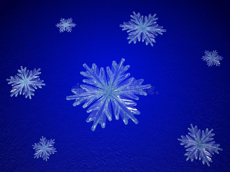 μπλε snowflakes κρυστάλλου ελεύθερη απεικόνιση δικαιώματος