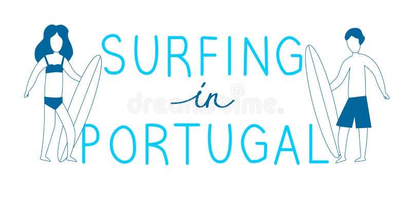 Μπλε surfers γραμμών με τις ιστιοσανίδες με την εγγραφή στην Πορτογαλία VE απεικόνιση αποθεμάτων
