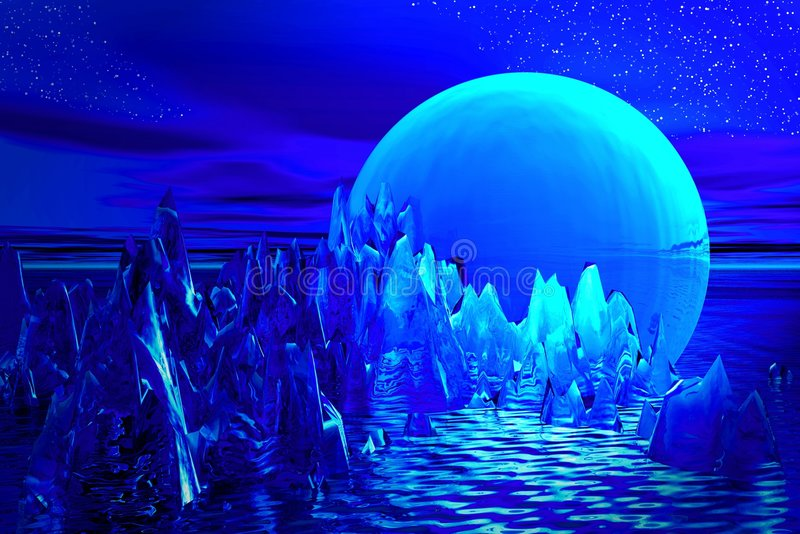 μπλε ufo τοπίων ελεύθερη απεικόνιση δικαιώματος
