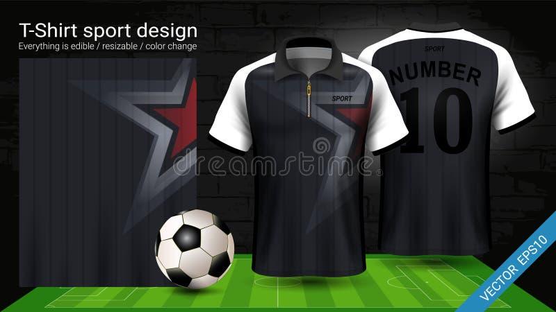 Μπλούζα πόλο με το φερμουάρ, πρότυπο αθλητικών προτύπων του Τζέρσεϋ ποδοσφαίρου για την εξάρτηση ποδοσφαίρου ή activewear ομοιόμο διανυσματική απεικόνιση