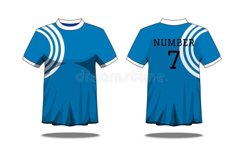 Μπλούζα των αθλητών με το κοντό μανίκι κατά την μπροστινή και πίσω άποψη Μπλε με το άσπρο λωρίδα και το σχέδιο χρώματος Editable  απεικόνιση αποθεμάτων