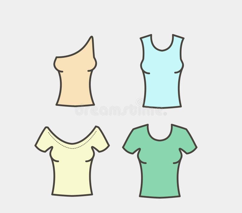 Μπλούζες γυναικών ` s καθορισμένες απεικόνιση αποθεμάτων