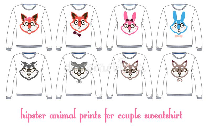 Μπλούζες Longsleeve με τα πρότυπα προσώπων ζώων ελεύθερη απεικόνιση δικαιώματος