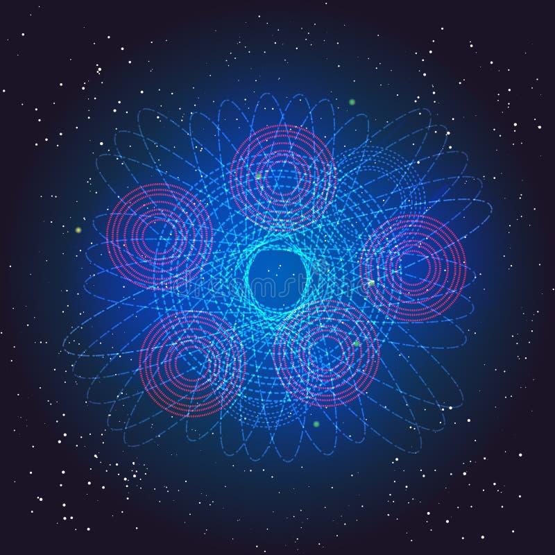 Μποζόνιο Higgs, κβαντικοί μηχανικοί Ταξίδι στο διάστημα Μεγάλη απεικόνιση κτυπήματος Διανυσματικό αφηρημένο κοσμικό υπόβαθρο απεικόνιση αποθεμάτων