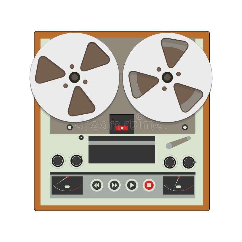 Μπομπίνα σε μπομπίνα όργανο καταγραφής με τις κασέτες ταινιών κασετών απεικόνιση αποθεμάτων