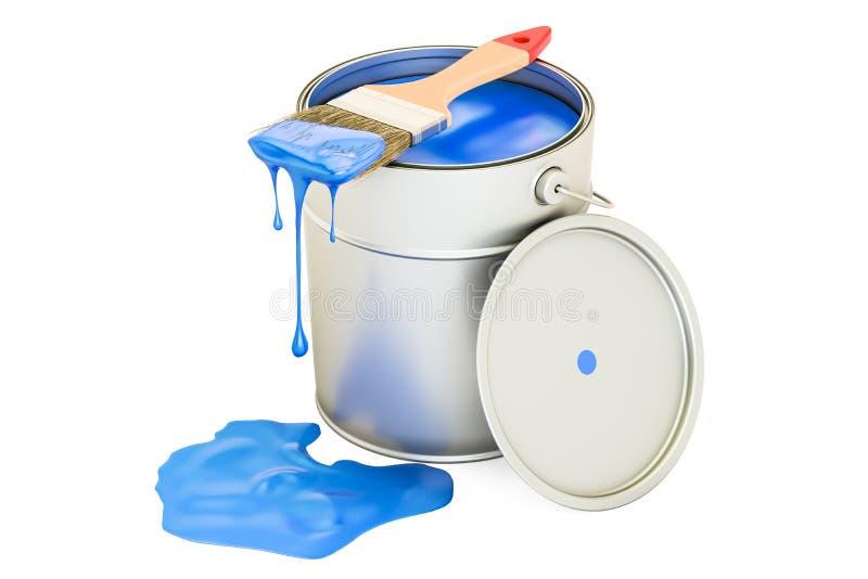 Μπορέστε με μπλε να χρωματίσετε και να βουρτσίσετε διανυσματική απεικόνιση