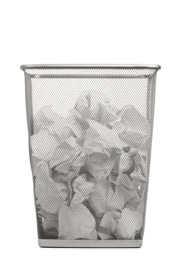 μπορέστε τσαλακωμένα απορρίμματα εγγράφου γραφείων στοκ εικόνα