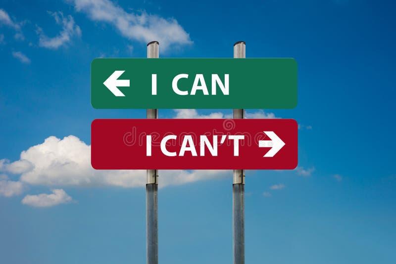 Μπορώ εναντίον εγώ μπορώ ` τ στα οδικά σημάδια στοκ φωτογραφίες