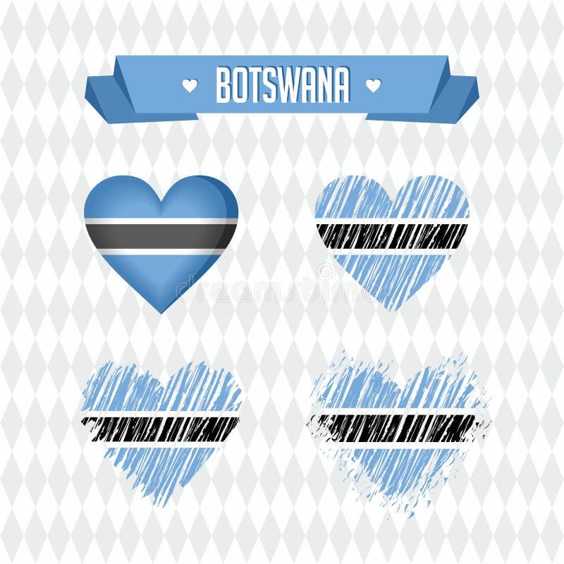 Μποτσουάνα με την αγάπη Σπασμένη διάνυσμα καρδιά σχεδίου με τη σημαία μέσα διανυσματική απεικόνιση