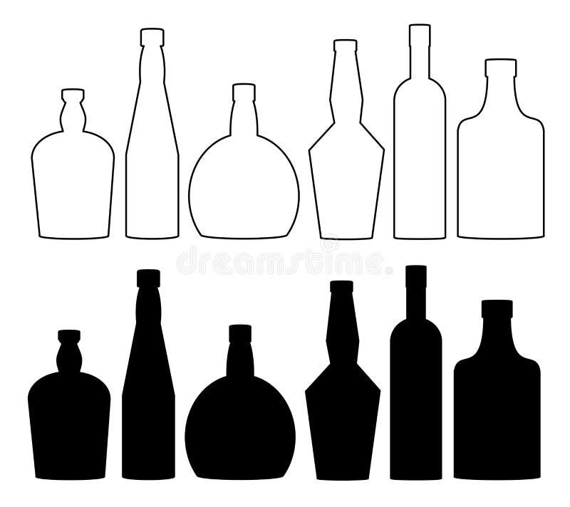 Μπουκάλια για τα οινοπνευματώδη ποτά, ποτά Κρασί, κονιάκ, ουίσκυ, κονιάκ, σύνολο μπουκαλιών βότκας διανυσματική απεικόνιση
