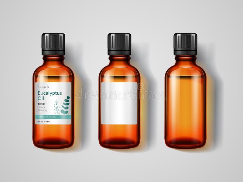 Μπουκάλια γυαλικών με το πετρέλαιο ευκαλύπτων διανυσματική απεικόνιση