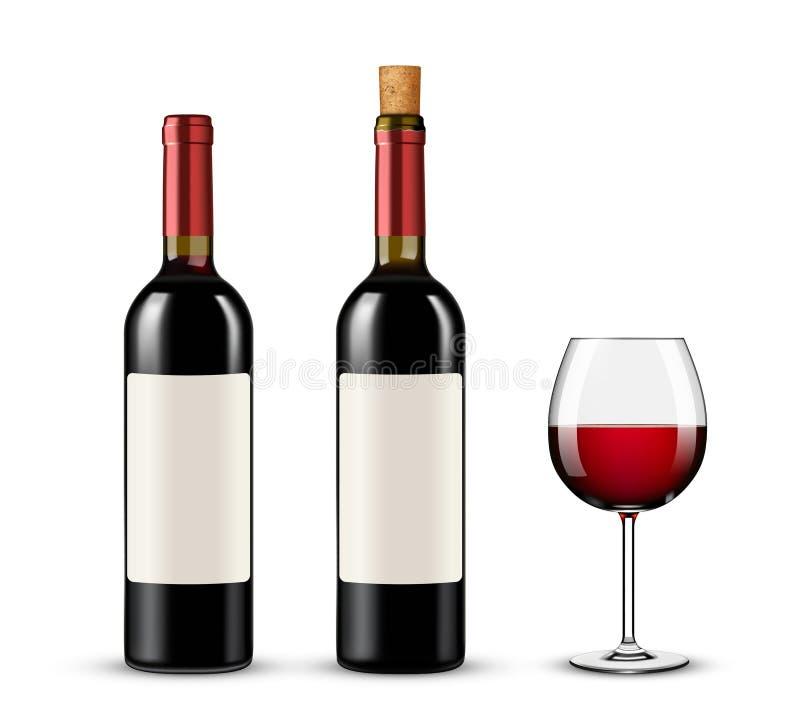 Μπουκάλια και γυαλί κόκκινου κρασιού στο άσπρο υπόβαθρο απεικόνιση αποθεμάτων