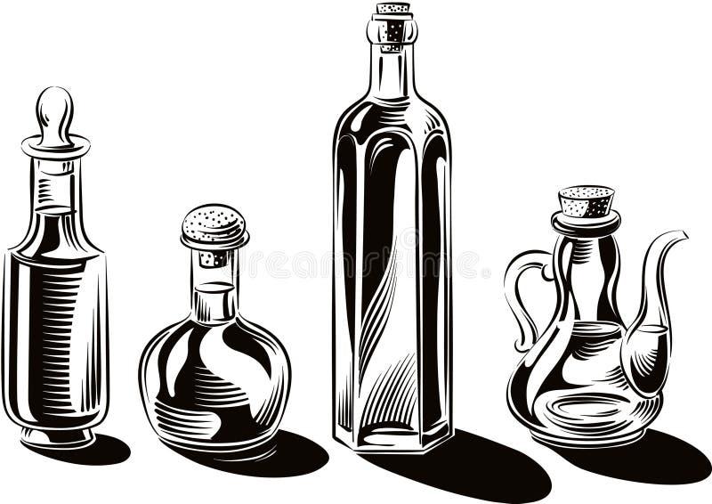 Μπουκάλια και εμπορευματοκιβώτια γυαλιού του πρόσθετου παρθένου ελαιολάδου διανυσματική απεικόνιση