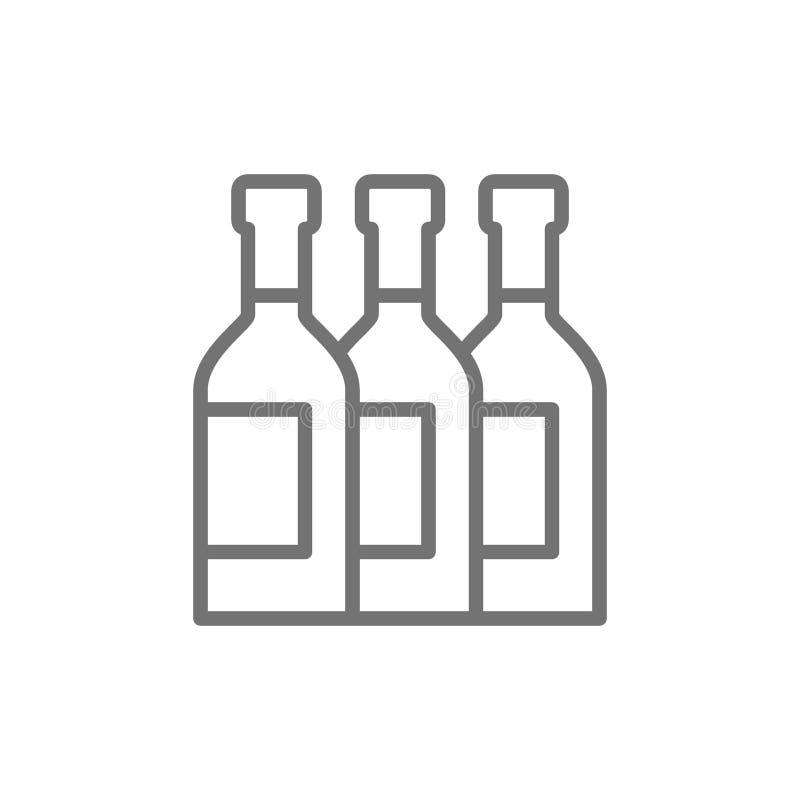 Μπουκάλια, κρασί, οινόπνευμα, εικονίδιο γραμμών σαμπάνιας απεικόνιση αποθεμάτων