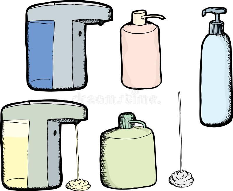 Μπουκάλια λοσιόν και σαπουνιών απεικόνιση αποθεμάτων