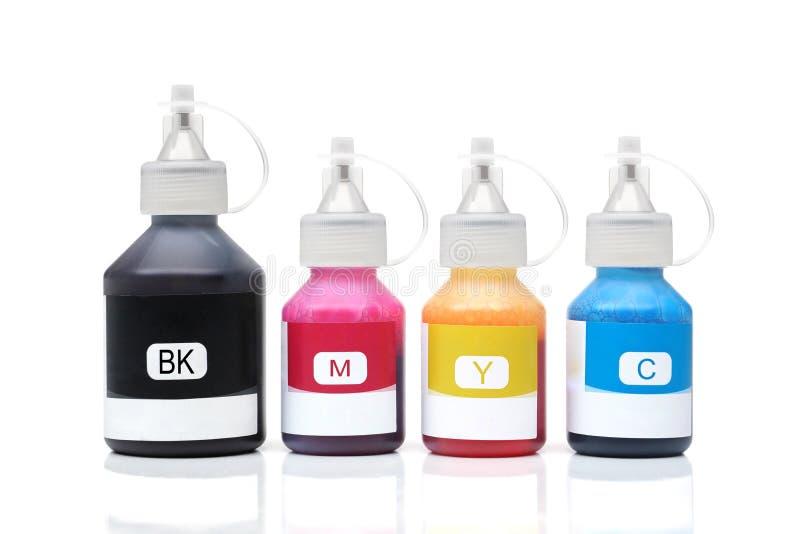 Μπουκάλια μελανιού εκτυπωτών για τους εκτυπωτές Inkjet στοκ φωτογραφία με δικαίωμα ελεύθερης χρήσης