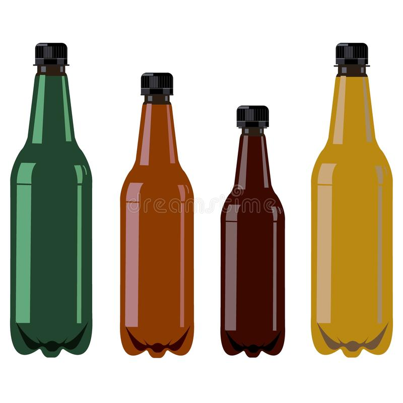 Μπουκάλια με τις μαύρες καλύψεις διανυσματική απεικόνιση