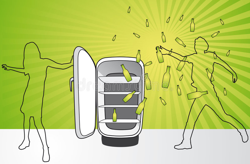 μπουκάλια μπύρας που δραπετεύουν το ψυγείο απεικόνιση αποθεμάτων