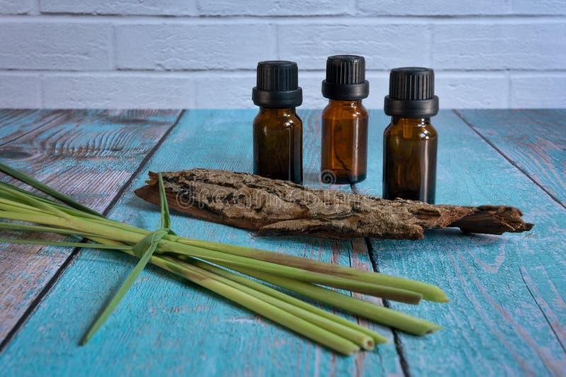 Μπουκάλια ουσιαστικού πετρελαίου με lemongrass στοκ εικόνες με δικαίωμα ελεύθερης χρήσης