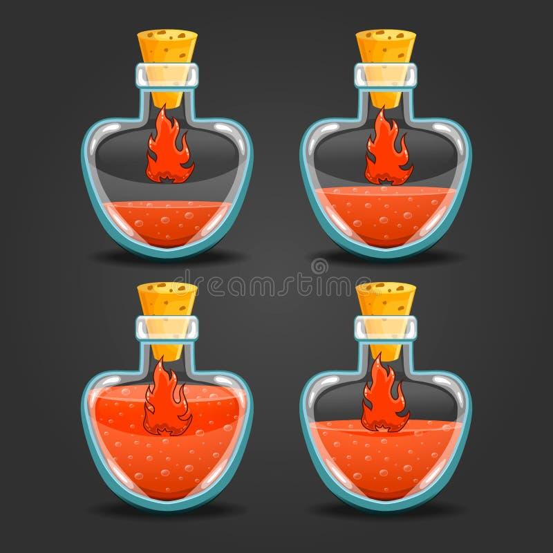 Μπουκάλια πυρκαγιάς με το διαφορετικό υγρό επίπεδο απεικόνιση αποθεμάτων